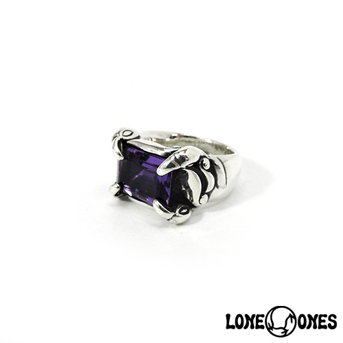 【LONE ONES】ロンワンズ【送料無料】【あす楽】/MF Ring: Temple with Amythest Emerald Cut (12mm x 8.5mm)-Size 6.0-7.5(JP#11.5~#15) テンプルアメジストエメラルドカット/Sサイズ/シルバーリング/アメジスト/天然石
