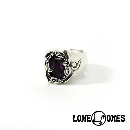 【LONE ONES】ロンワンズ【送料無料】【あす楽】/MF Ring: Wind Rose with Amythest Emerald Cut (13mm x 9.5mm)-Size 6.0-7.5(JP#11.5~#15) ウィンドローズアメジストエメラルドカット/Sサイズ/シルバーリング/アメジスト/天然石