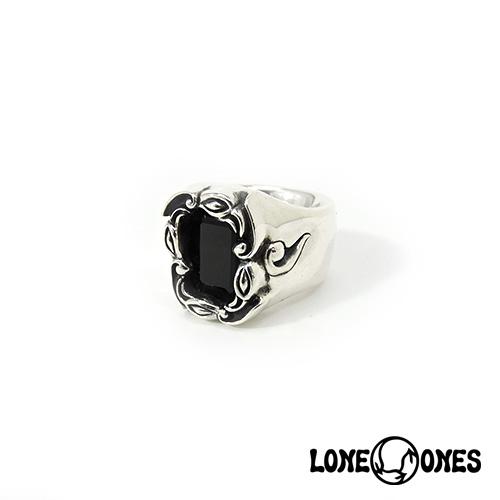 【LONE ONES】ロンワンズ【送料無料】【あす楽】/MF Ring: Wind Rose with Black Onyx Emerald Cut (10 mm x 8 mm)-Size 3.0-5.5(JP#4~#10) ウィンドローズブラックオニキスエメラルドカット/XSサイズ/シルバーリング/オニキス/天然石