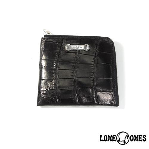 【LONE ONES】ロンワンズ【送料無料】【あす楽】/MF Wallet: Compact Wallet (Silver Plate)/Mat Crocodile コンパクトウォレット(シルバープレート)/マットクロコダイル/L字/ウォレット/レザー/クロコ
