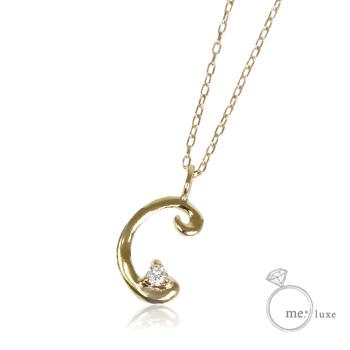 【me.luxe】ミーリュクスダイヤモンド/10KG イニシャルネックレス「C」