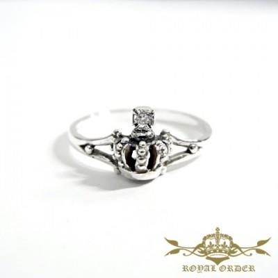 【ROYAL ORDER】ロイヤルオーダー【送料無料】【あす楽】/ANGELIQUE CROWN BAND w/1 Diamond in Cross アンジェリーククラウンバンドw/ダイヤモンド イン クロスリング