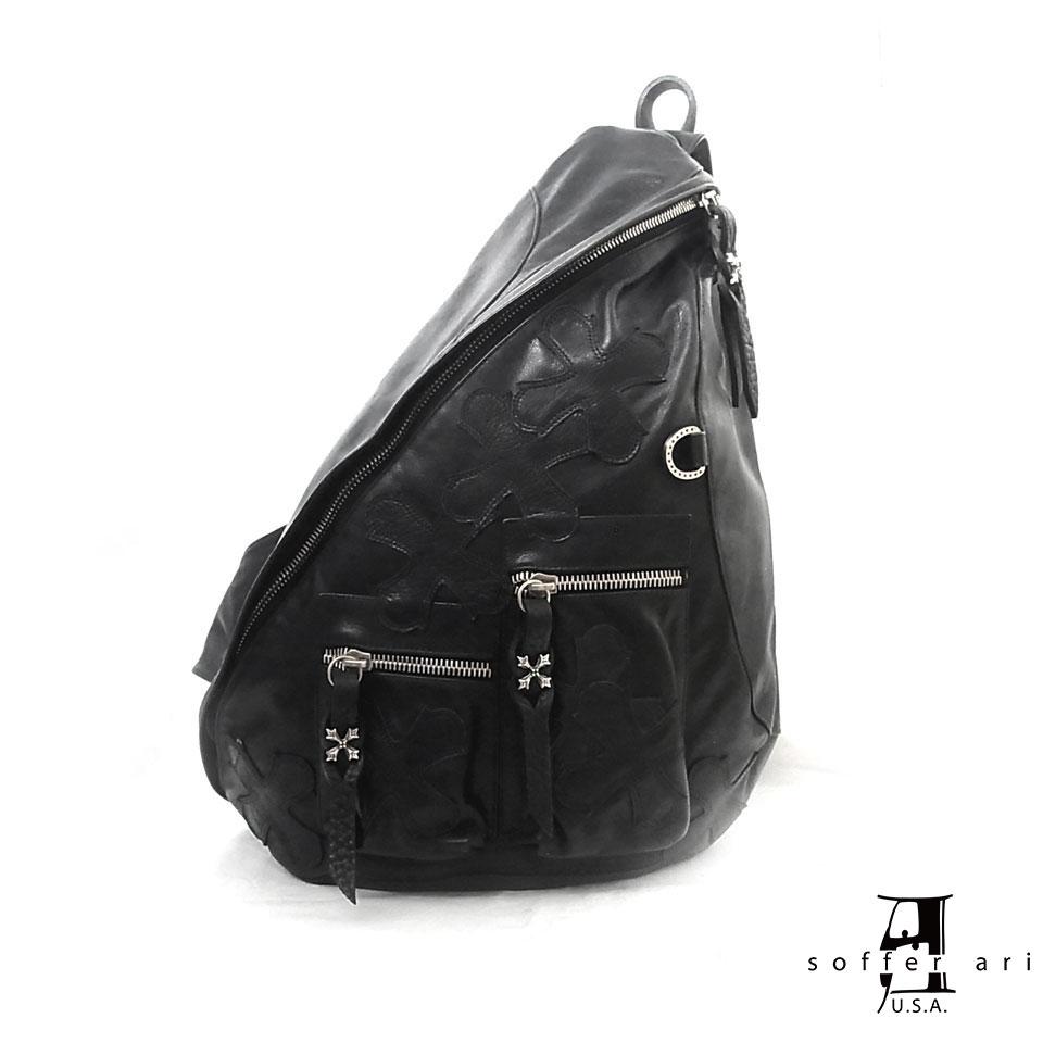 【Soffer Ari】ソファアリBACK PACK - BLACK バックパック/オールレザー/ブラック/リュック/本革/クロスパッチ