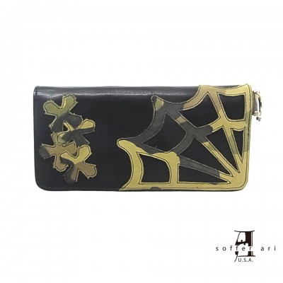 【Soffer Ari】ソファアリMR. SUE WALLET WITH SPIDER WEB AND CROSSES - BLACK ロングウォレット/スパイダーウェブ&クロス/ブラック/カモフラ