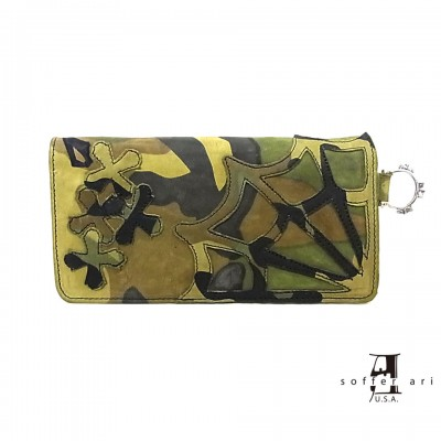 【Soffer Ari】ソファアリMR. SUE WALLET WITH SPIDER WEB AND CROSSES - CAMO LEATHER ロングウォレット/スパイダーウェブ&クロス/カモフラ
