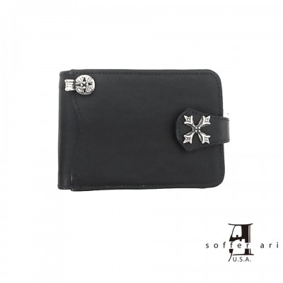 【Soffer Ari】ソファアリS.A. WALLET N.C. BADGE CLACK WITH WALLET CHAIN JUNCTION - BLACK /ショートウォレット/二つ折り
