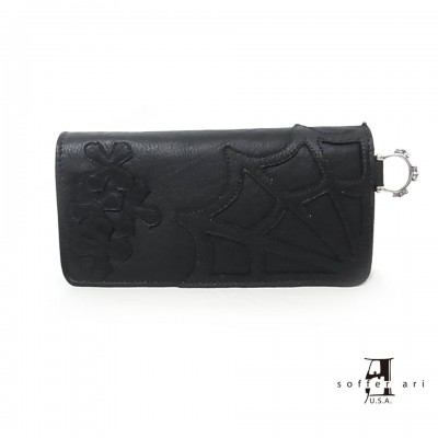 【Soffer Ari】ソファアリMR. SUE WALLET WITH SPIDER WEB AND CROSSES - BLACK LEATHER ロングウォレット/スパイダーウェブ&クロス/ブラック