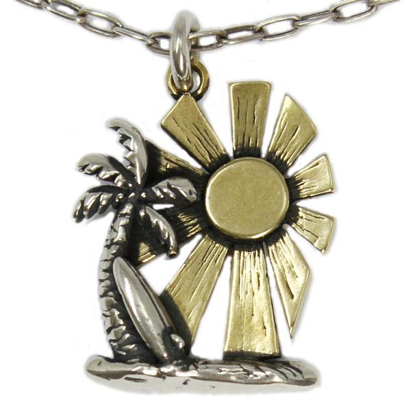 【VASSER】バッサーHawaiian Holiday Pendant SilverxBrass(ハワイアンホリデイペンダントシルバーxブラス) w/Chain/ペンダント/ハワイアン/太陽/ヤシの木/真鍮/シルバー/チェーンセット/メンズ/レディース