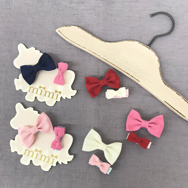 Mimi Mimi grosgrain hair clip or small 2 piece set with a non-slip made in Japan made in hair Japan accessories
