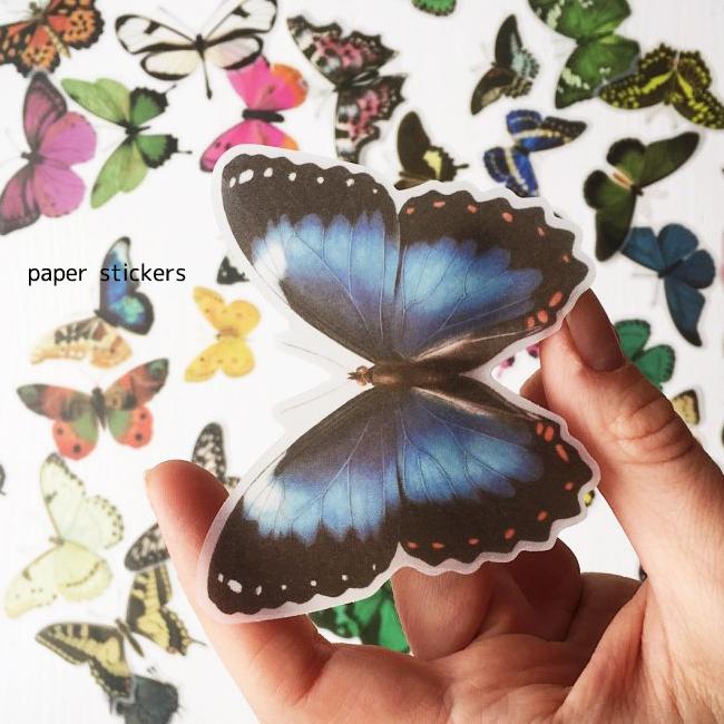 メール便配送可能 バタフライ マート 75枚 シール 蝶々ステッカー ラッピング用品 テープ ヴィンテージ ちょうちょ Vintage Butterfly 蝶 stickers paper スクラップブッキング 開店祝い