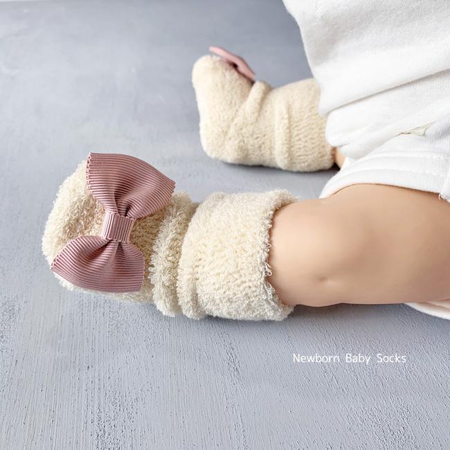 脱げにくい organic ハイソックス 日本製 Kufuu オーガニック リボン付 単品パイルハイソックス 新生児 期間限定の激安セール 7-9cm 誕生日プレゼント ベビーソックス セレモニー オーガニックコットン 靴下 日本製クフウ 綿 ソックス