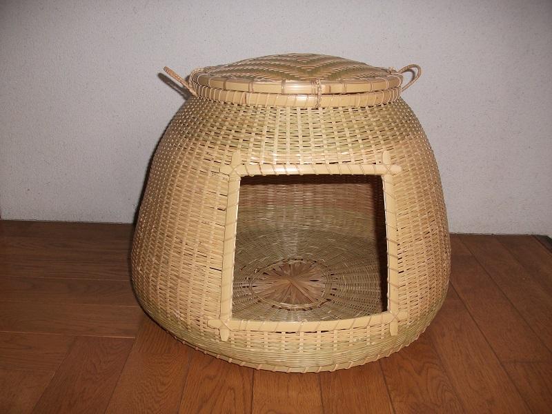 【猫籠】猫ちぐら/竹細工/竹かご/国産真竹使用
