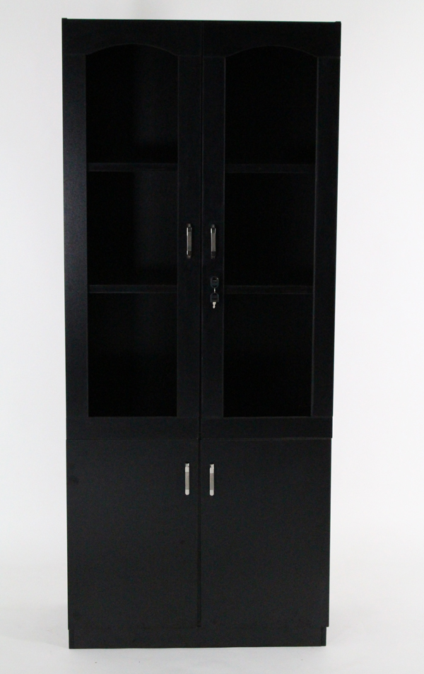 送料無料 訳あり 新品 キャビネット 書庫 保管庫 本棚 書棚 引き出し 収納庫 上下開き戸 ブラック