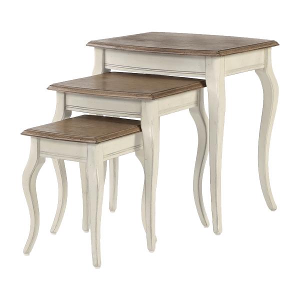 送料無料 新品 アンティーク調 サイドテーブル 3点セット Sサイズ Mサイズ Lサイズ ホワイト 花台 ネストテーブル アンティーク家具 木製 テーブル アンティーク風 アンティーク インテリア 家具 ベッドサイドテーブル シャビーシック シャビー 白 antiqueh01wh3set