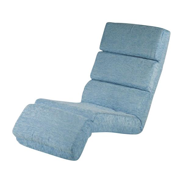 送料無料 新品 14段階調節可能 フロアチェア リクライニング 座椅子 フロアベッド ブルー 20