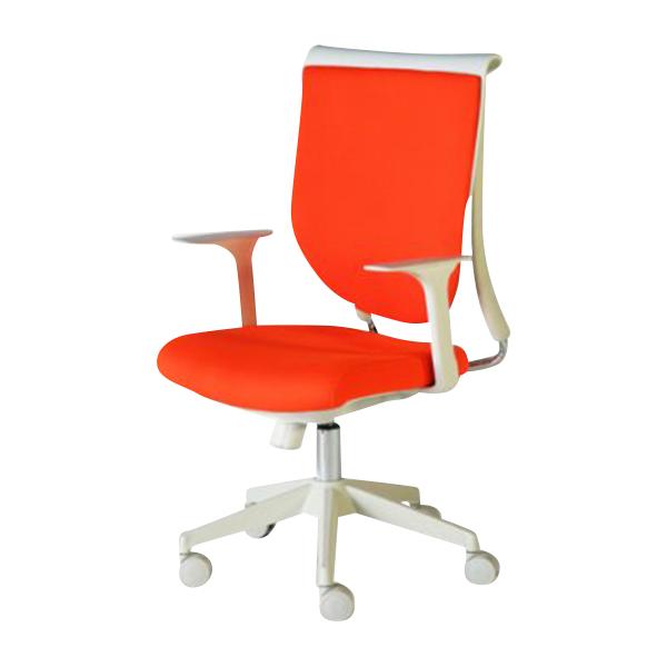 送料無料 新品 スキットチェア/高さ調節可能 オフィスチェア ロッキングチェア ミーティングチェア 会議椅子パソコンチェア 肘付き デザイナーズ ロッキング機能 会議用 肘かけ取り外し可能 オレンジ