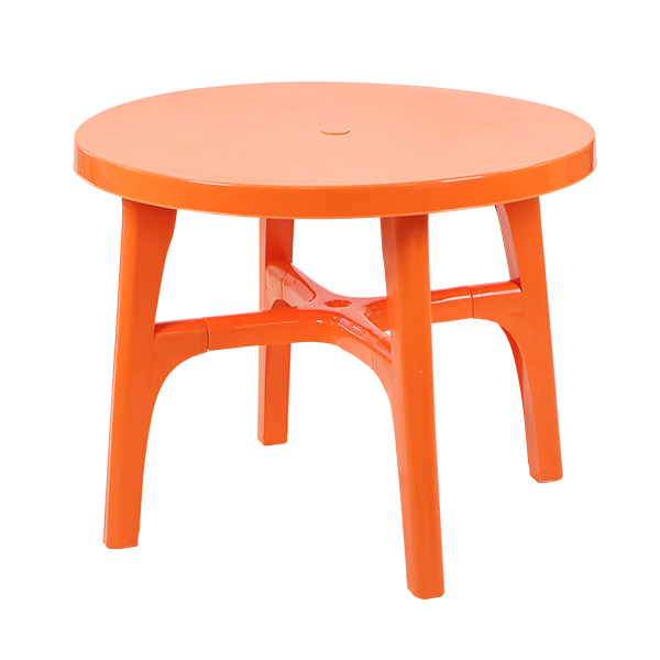 送料無料 ガーデンテーブル ポリプロピレン製 PP オレンジ 軽量で持ち運び簡単 ガーデンファニチャー ガーデン テーブル アウトドア アウトドアテーブル おしゃれ パラソル使用可 屋外用 庭 テラス バルコニー 丸型 円形 ラウンド プラスチック deckchairtableor