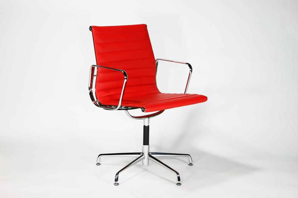送料無料 新品 イームズアルミナムチェア ローバックチェア 本革 RED 610BR