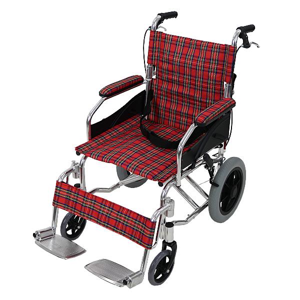 送料無料 車椅子 アルミ合金製 レッドチェック 約10kg TAISコード取得済 背折れ 軽量 折り畳み 介助用 介助ブレーキ付き 携帯バッグ付き ノーパンクタイヤ 折りたたみ コンパクト 軽い 背折れ式 介助用 介助 車椅子 車イス 車いす wheelchairb63rc