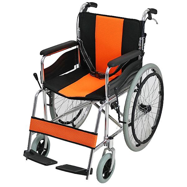 送料無料 車椅子 アルミ合金製 オレンジ 約12kg 背折れ 軽量 折り畳み 自走介助兼用 介助ブレーキ付き ノーパンクタイヤ 自走用車椅子 自走式車椅子 折りたたみ コンパクト 軽い 背折れ式 自走用 介助用 自走式 自走 介助 車椅子 車イス 車いす wheelchairs05or