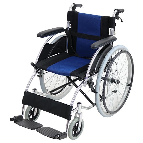 送料無料 車椅子 アルミ合金製 青 約13kg TAISコード取得済 軽量 折り畳み 自走介助兼用 介助ブレーキ付き(ロック機能搭載) ノーパンクタイヤ 自走用車椅子 自走式車椅子 折りたたみ コンパクト 介助用 自走式 自走 介助 車椅子 車イス 車いす ブルー wheelchairs07blue