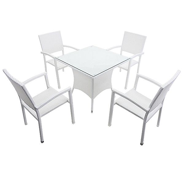 送料無料 ガーデンチェア ガーデン チェア ラタンチェア ラタン テーブル ラタンテーブル 人工ラタンチェア4脚 四角テーブル1台 5点セット 強化ガラス ホワイト 籐 肘掛け付き 家具 ファニチャー インテリア スタッキングチェア 庭 白 rattan4565t5setwh
