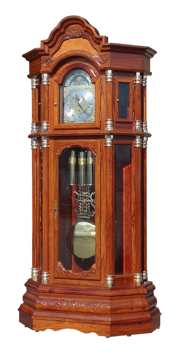 送料無料 新品 最高級 ホールクロック ブラウン ドイツ製ムーブメント ローズウッド 無垢材 紫檀 彫刻 完成品 柱時計 大型置き時計 置時計 振り子 機械式 グランドファーザーズクロック フロアクロック フロア―クロック 311br