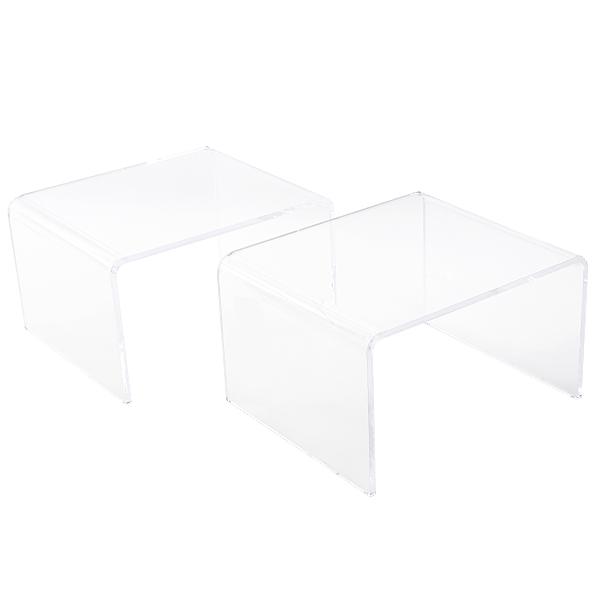 送料無料 アクリルテーブル サイドテーブル 2台セット コの字 センターテーブル クリア 無色透明 透明感 インテリア 家具 2点セット アクリル樹脂 アクリルサイドテーブル アクリル テーブル ローテーブル 軽量 アクリルスタンド 展示台 ディスプレイ actable003cl2set