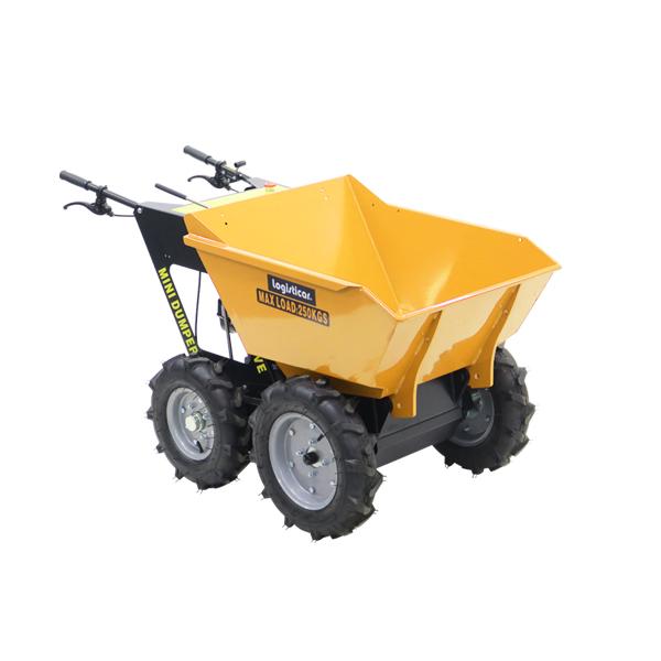 送料無料 ダンプカート エンジン式 Honda GXV160内蔵 4ストロークエンジン 最大積載重量約250kg 積載容量約200L 5.5馬力 4輪 ダンパー エンジン 台車 運搬車 黄 運搬機 運搬用 土 砂 土砂 歩行型運搬車 ホンダエンジン 作業 林業 農業 農機具 運搬 イエロー minidumpd25y