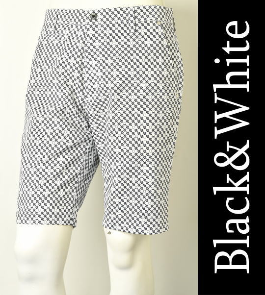 【30%OFFセール】【2018春夏新作】【送料無料】ブラック&ホワイト ノータックショートパンツ【Black&White】【85/88/92】【ボトムス】【メンズ】【ゴルフ】【あす楽_土日営業】