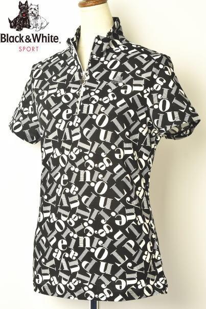 ブラック&ホワイト ゴルフ Black&White半袖ハーフジップシャツ レディース 2020春夏新作 送料無料M-L-LL トップス ブラック アンド ホワイトあす楽_翌日着荷可