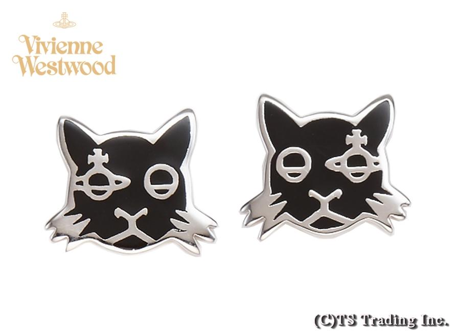 Vivienne Westwood ヴィヴィアンウエストウッド★Kat Orb Stud Pierced Earrings ☆キャット 猫 オーブ ピアス (BK/SV)【あす楽対応】【YDKG-k】【W3】【送料無料】【smtb-k】