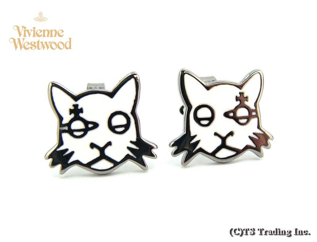 Vivienne Westwood ヴィヴィアンウエストウッド★Kat Orb Stud Pierced Earrings ☆キャット 猫 オーブ ピアス (WH/GM)【あす楽対応】【YDKG-k】【W3】【送料無料】【smtb-k】