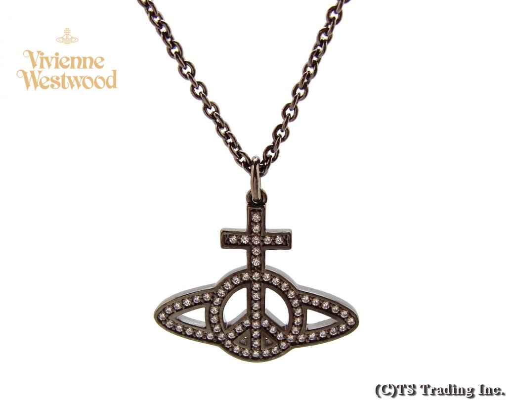 Vivienne Westwood ヴィヴィアンウエストウッド MAM Peace Pave Orb Pendant☆マン ピースマーク CND オーブ ペンダント (Gunmetal)【あす楽対応】【YDKG-k】【W3】【送料無料】【smtb-k】