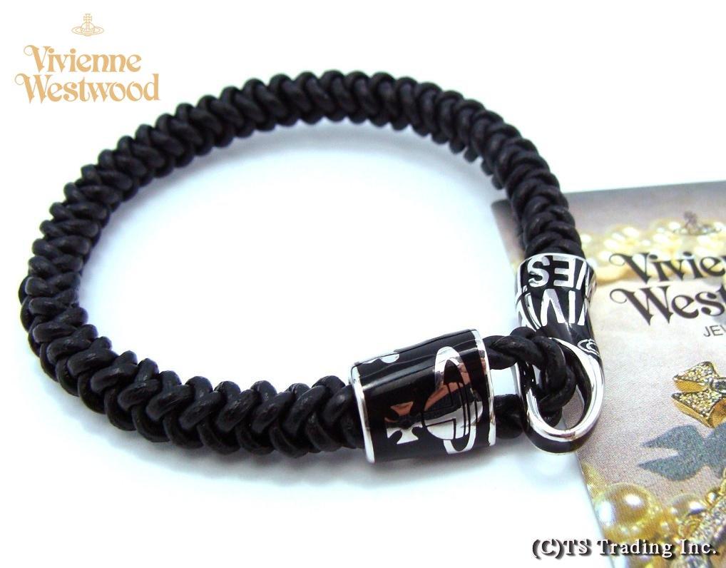 Vivienne Westwood Man Ezra Leather Cord Bracelet Orb Code Sv Bk