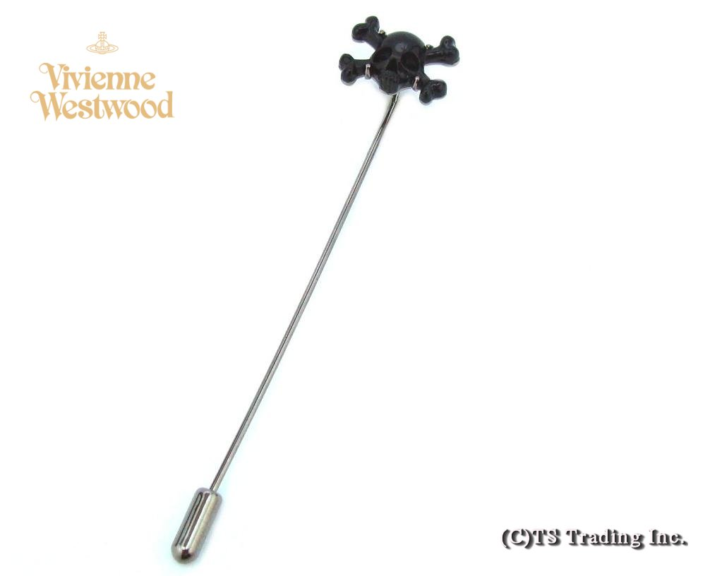 Vivienne Westwood ヴィヴィアンウエストウッド Skull and Crossbones Tie Lapel Pin 髑髏モチーフ ラペルピン(BK/GM)【あす楽対応】【YDKG-k】【W3】【送料無料】【smtb-k】
