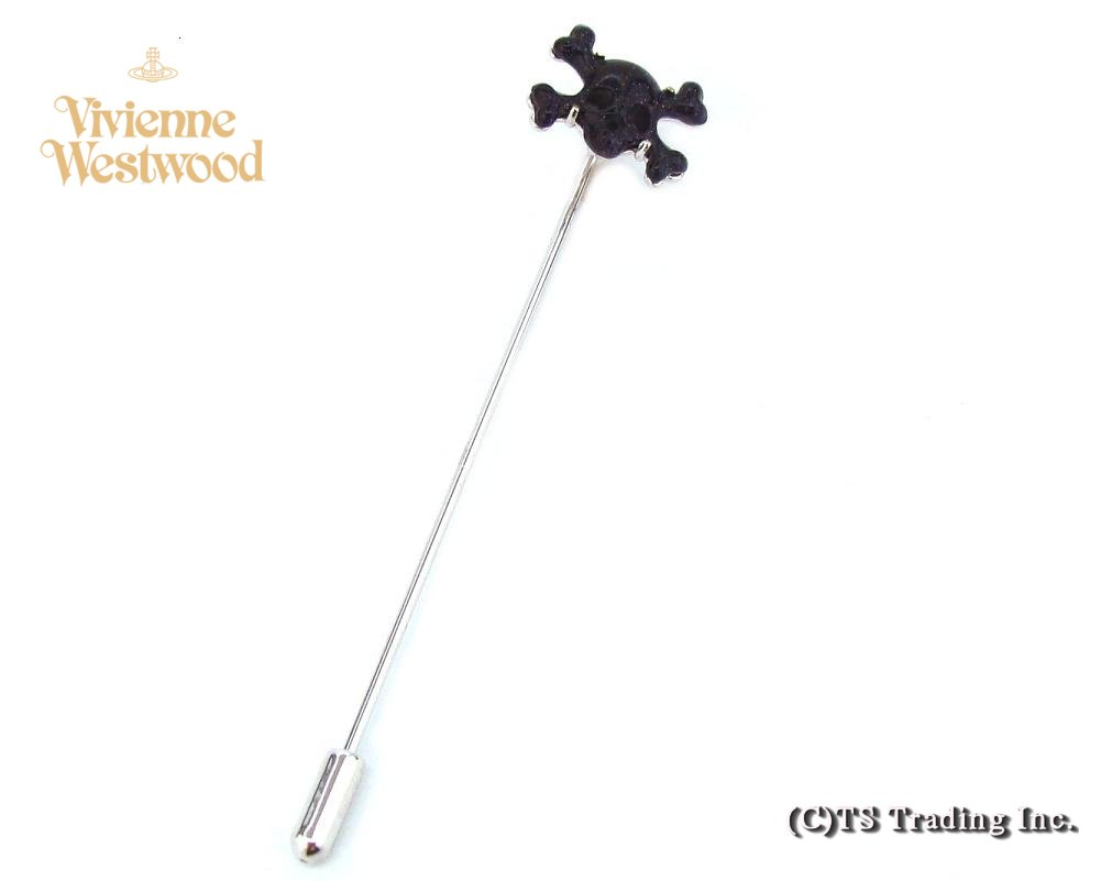 Vivienne Westwood ヴィヴィアンウエストウッド Skull and Crossbones Tie Lapel Pin 髑髏モチーフ ラペルピン(BL/SV)【あす楽対応】【YDKG-k】【W3】【送料無料】【smtb-k】