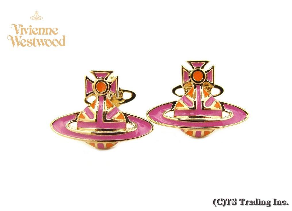 Vivienne Westwood ヴィヴィアンウエストウッド★Jack Enamel Orb Stud Pierced Earrings ☆英国旗 ユニオンジャック オーブ ピアス (Orange PK /GOLD)【あす楽対応】【YDKG-k】【W3】【送料無料】【smtb-k】