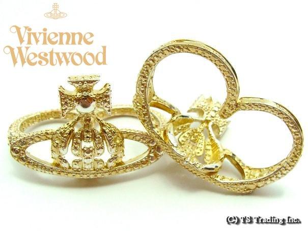 Vivienne Westwood ヴィヴィアンウエストウッド Radha Orb Ring ラーダ オーブ ツーフィンガーリング (GOLD)【あす楽対応】【YDKG-k】【W3】【送料無料】