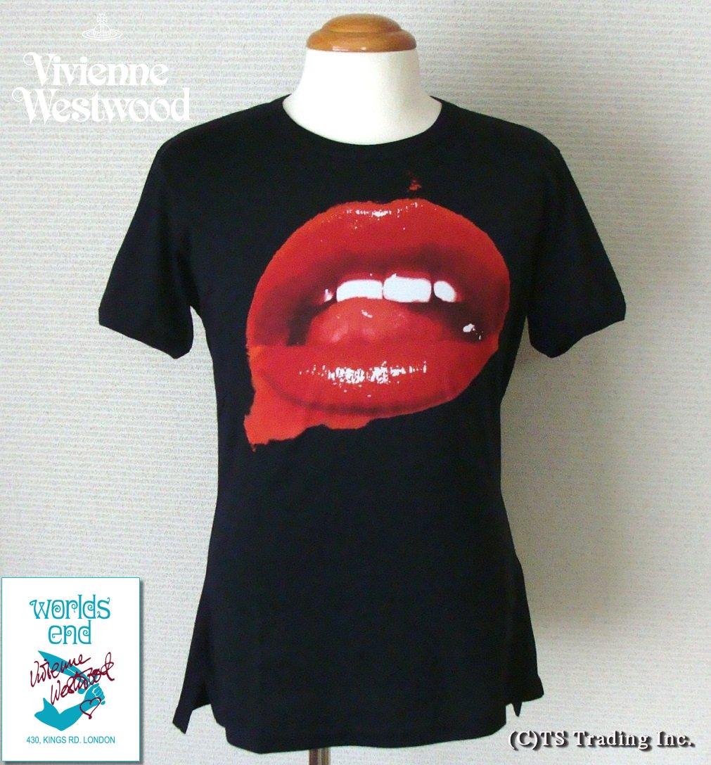 ◆Vivienne Westwood◆ヴィヴィアンウエストウッド★Worlds End Lip Print Tee ワ―ルズエンド マンソン リップ プリント Tシャツ(BK)【あす楽対応】【YDKG-k】【W3】【送料無料】【smtb-k】