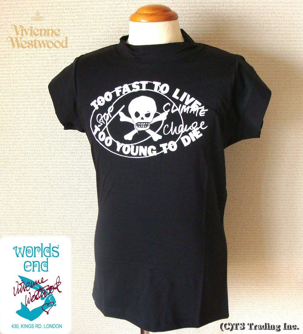 Vivienne Westwood ヴィヴィアンウエストウッド ★Worlds End Too Fast To Live Cap sleeve Tee☆ワ―ルズエンド Tシャツ(BK)【あす楽対応】【YDKG-k】【W3】【送料無料】【smtb-k】
