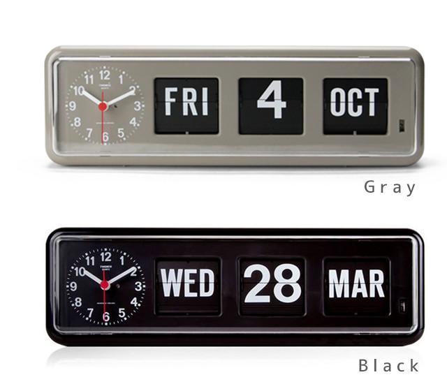 Twemco カレンダークロック #BQ-38 Gray/Black W34×D7.5×H11cm プラスチック製