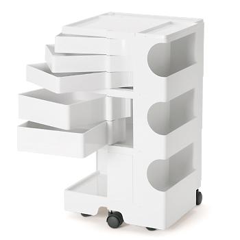 ボビーワゴン ホワイト 3段5トレイ BOBY WAGON WHITE B-LINE ビーライン ジョエ・コロンボ 多機能ワゴン/キッチン収納/デスク整理/【代引不可】