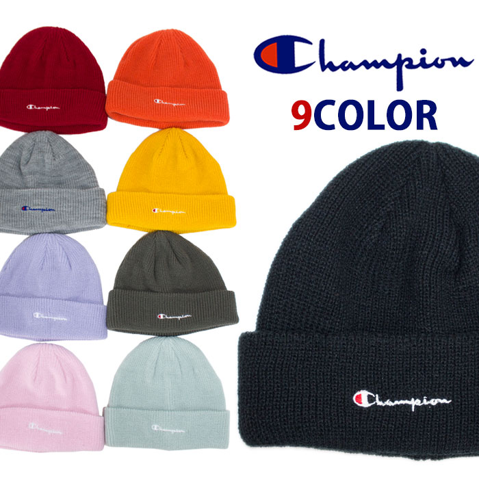 1800d5747 CHAMPION champion knit hat stylish logo embroidery casual pink black black  navy orange green Father's Day present