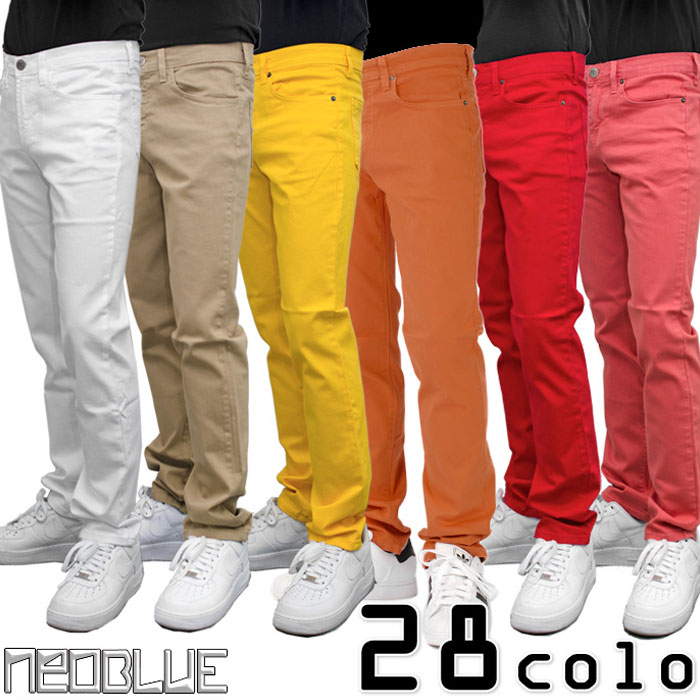 NEO BLUE JEANS COLOR SKINNY PANTS neo blue jeans Cara skinny pants 12 color deployments stretch on