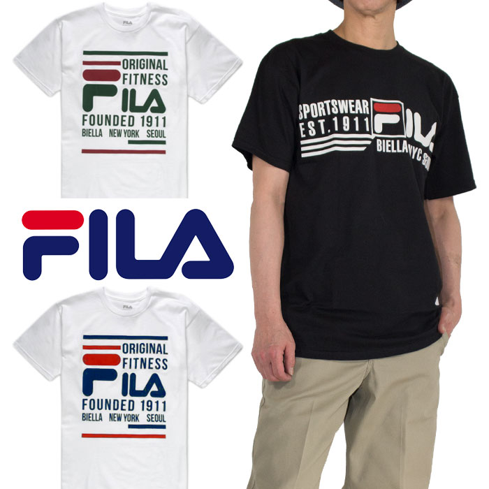 c603e321 It is good to the clothing of the trendy sports-style! It is the stylish T- shirt which printed a logo of FILA on a chest.