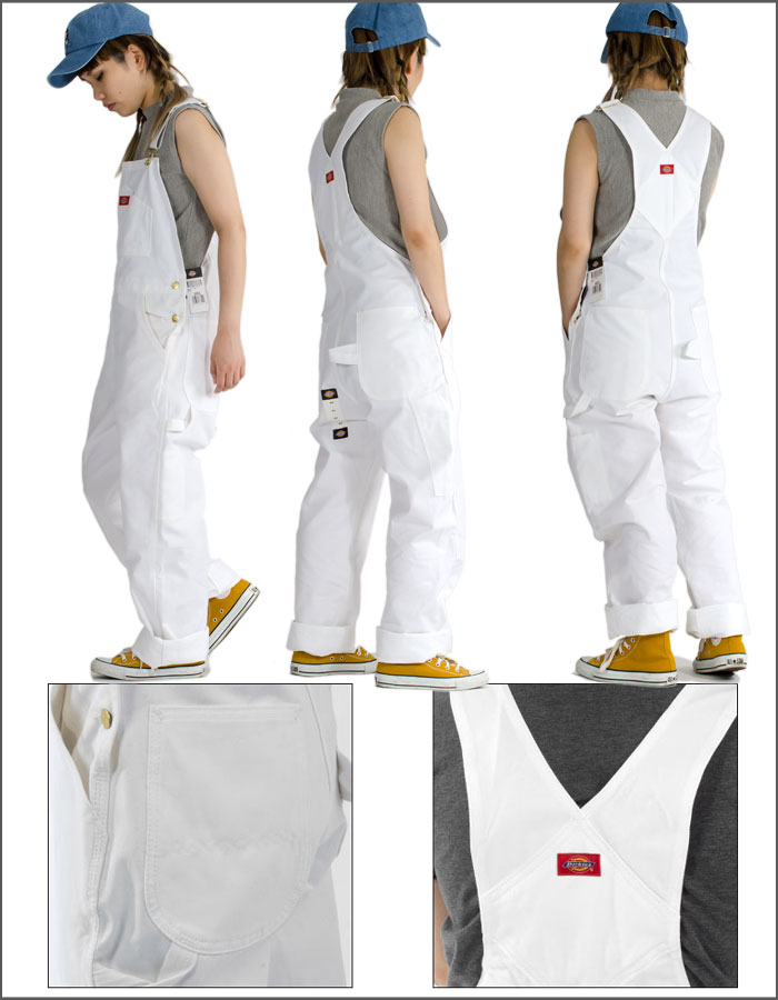 order latest design great variety styles Dickies Dickies white denim overall bibb oar white Painter's Bib  OverallPants men gap Dis American casual working clothes Father's Day  present