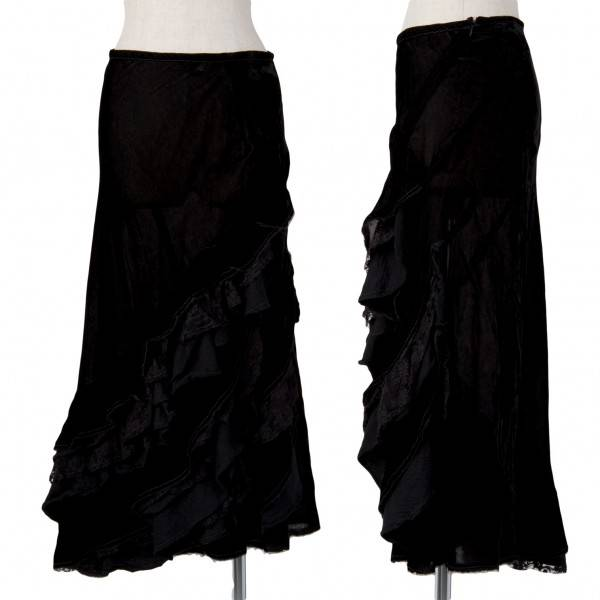 トリココムデギャルソン tricot COMME des GARCONS race reshuffling velour skirt black M