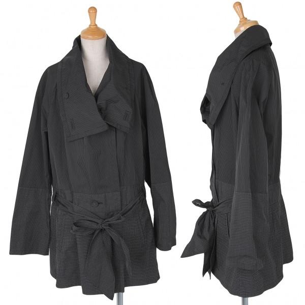 【SALE】イッセイミヤケ ハートISSEY MIYAKE HaaT チェックストライプ切替羽織コート 黒グレー3