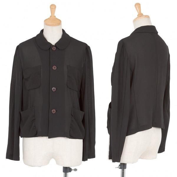 【SALE】コムコム コムデギャルソンCOMME des GARCONS 製品染めポケットデザインシースルージャケット 黒M